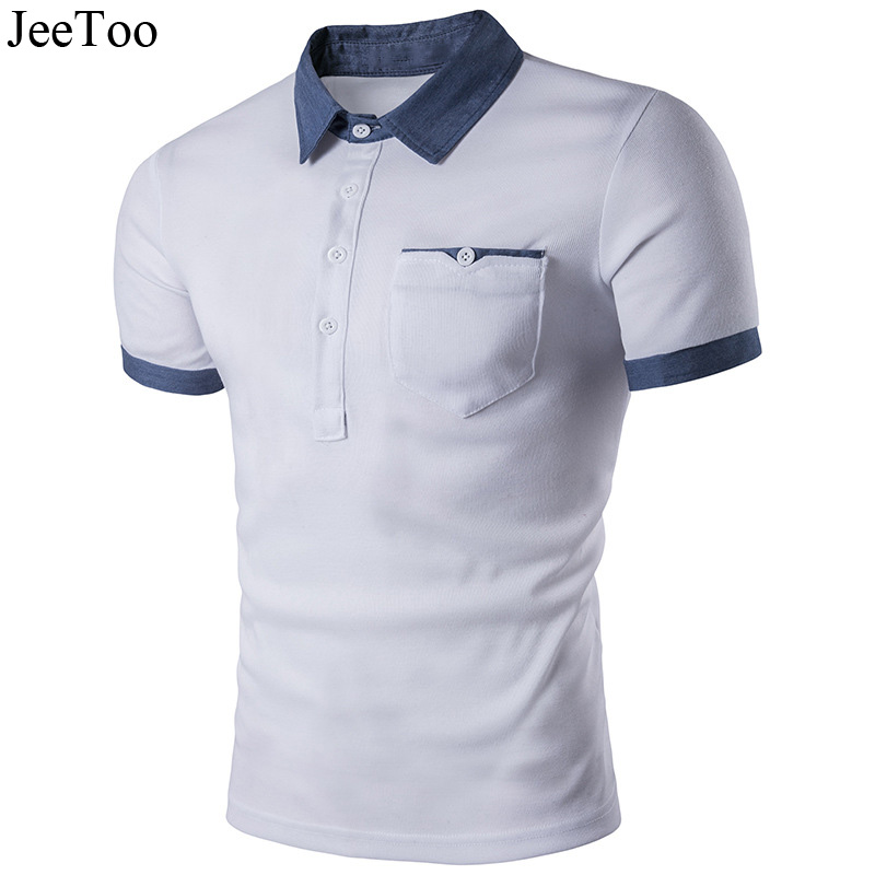 JeeToo White Black Polo Men Shirt Jeans Patchwork Short Sleeve Male Polo Shirts Slim Fit Breathable Cotton Mens Polos Shirt