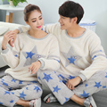 Autumn and winter coral velvet couple pajamas women casual cute thick flannel men 's home suits