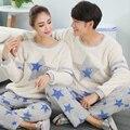 Otoño e invierno de terciopelo coral pijamas par mujeres casual lindo inicio trajes de franela gruesa de los hombres
