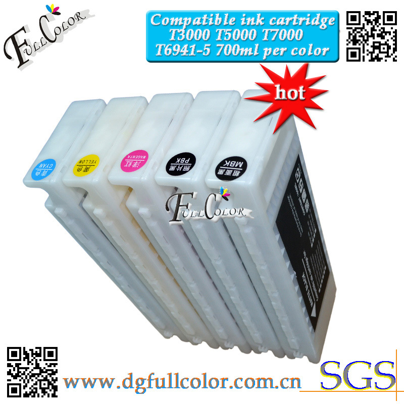Free Shipping compatible ink cartridge T6941-5 refill pigment ink for epson SureColor SC-T3000 SC-T5000 SC-T7000 Printer free shipping 8pcs a lot compatible hp91 ink cartridge with pigment ink for hp z6100 ciss
