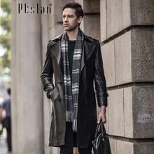 Ptslan 2016 Men's Genuine Leather Jacket Real Lamb Skin Long Coat