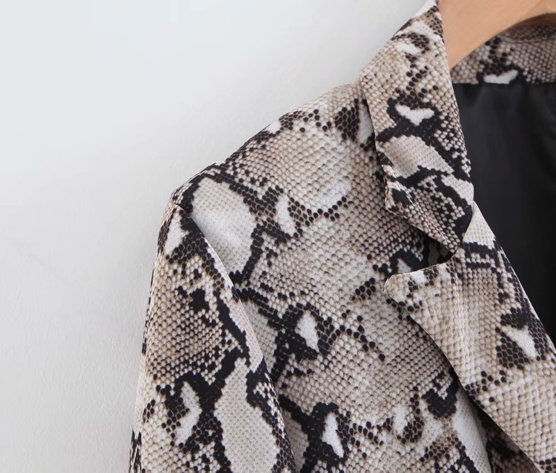 Women Runway Vintage Snake Print Blazer Pockets Notched Collar Long Sleeve Coat Female Outerwear Fashion Casaco Feminine Tops