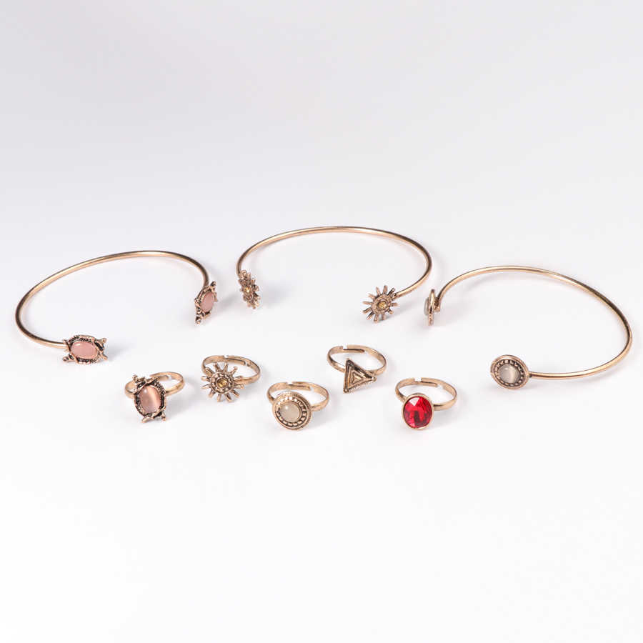 Kinel 8 sztuk Boho słońce kwiat zestawy biżuterii dla kobiet Open mankiet bransoletki regulowane pierścienie geometryczne biżuteria w stylu Vintage zestaw kobiet prezent