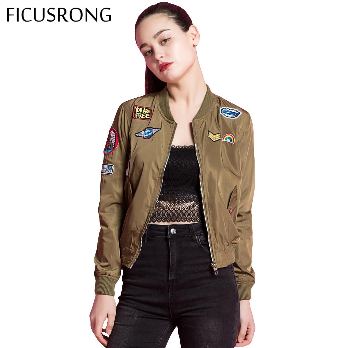 2019 New Spring Female   Jacket   Vintage Patch Designs   Basic     Jacket   Coat Street Autumn Bomber   Jacket   Women FICUSRONG