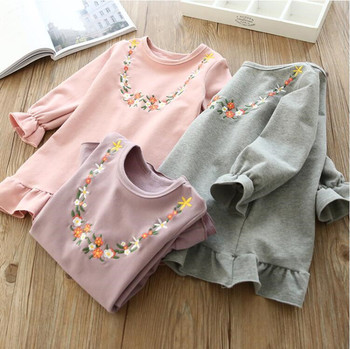 YGLP12286234 2018 New Baby Girls Dress Solid Embroidery Girl Dress Girls Princess Dress Baby Dress Full Sleeve Girls Clothes