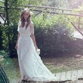 Vestido De Noiva Barato 2016 Sexy Bohemian Style Wedding Dresses 2015 Beach Boho Lace Short Sleeves Wedding Dress Casamento