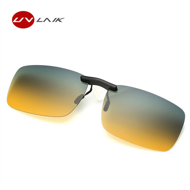 8f4a2dcfe59 UVLAIK Classic Polarized Lens Sunglasses Clip on Myopia Glasses Rimless Men  Women Night Vision Driving Sunglass