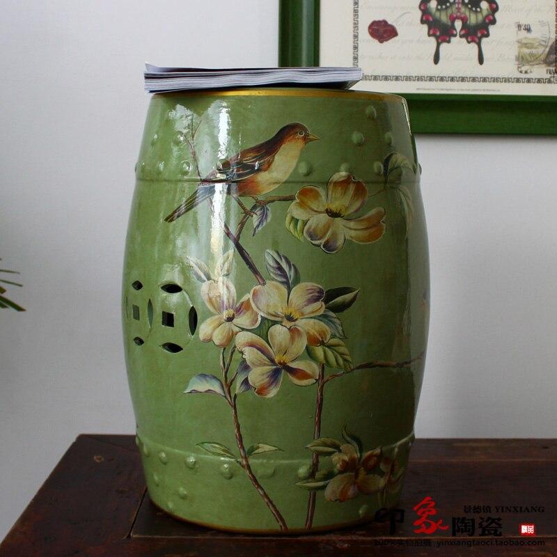 Meubles de siège en céramique de tabouret de conception de fleur et d'oiseau chinois pour d'intérieur