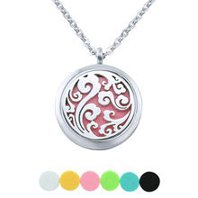 6 Free pads cloud perfume locket oil diffuser stainless steel necklace for women men aromatherapy felt pad solid perfume 316l