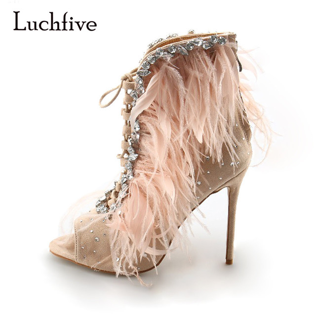 db94a844ce008 Luchfive Kid Suede Feather Women Sandals Peep toe high heels pink black  women Jewel shoes cross strap Gladiator sandalias mujer