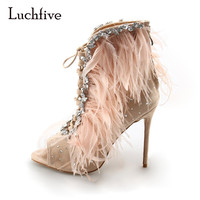 Luchfive Kid Suede Feather Women Sandals Peep toe high heels pink black women Jewel shoes cross strap Gladiator sandalias mujer