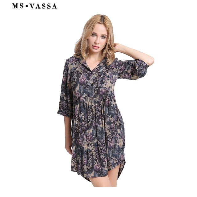 d32cce0b3da MS VASSA 2018 новое летнее платье для женщин Повседневное модное Стильное женское  платье с принтом до