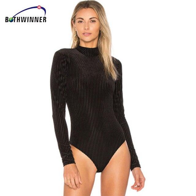Bothwinner Turtleneck Long Sleeve Sexy Bodysuit Women Zipper Bodycon Skinny  Solid Warm Shirt Romper Elegant Autumn 4efeaf3d8
