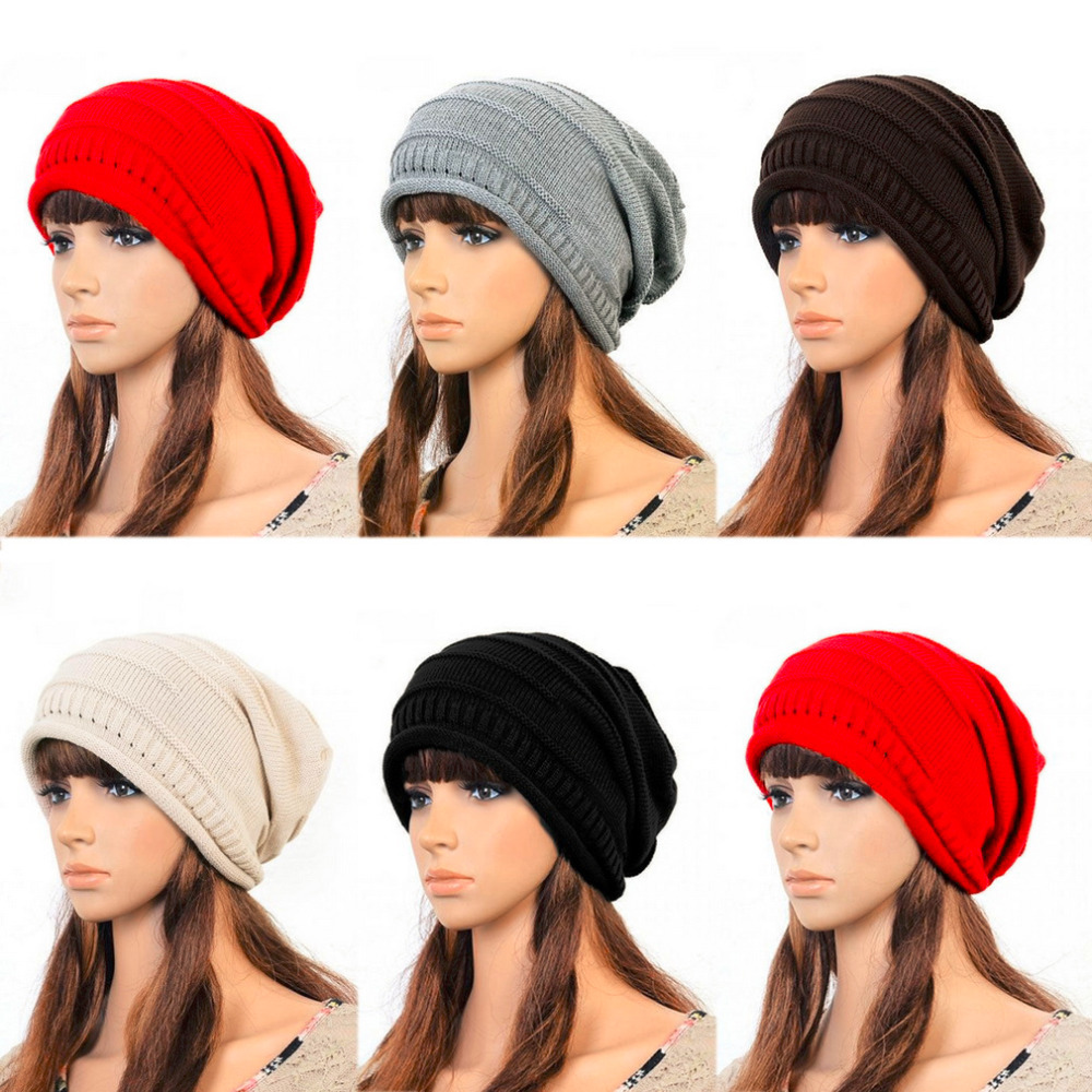 2017 Women Ladies Unisex Winter Knit Plicate Slouch Cap Hat Knitted Baggy Beanies Casual 4 Colors Fashion