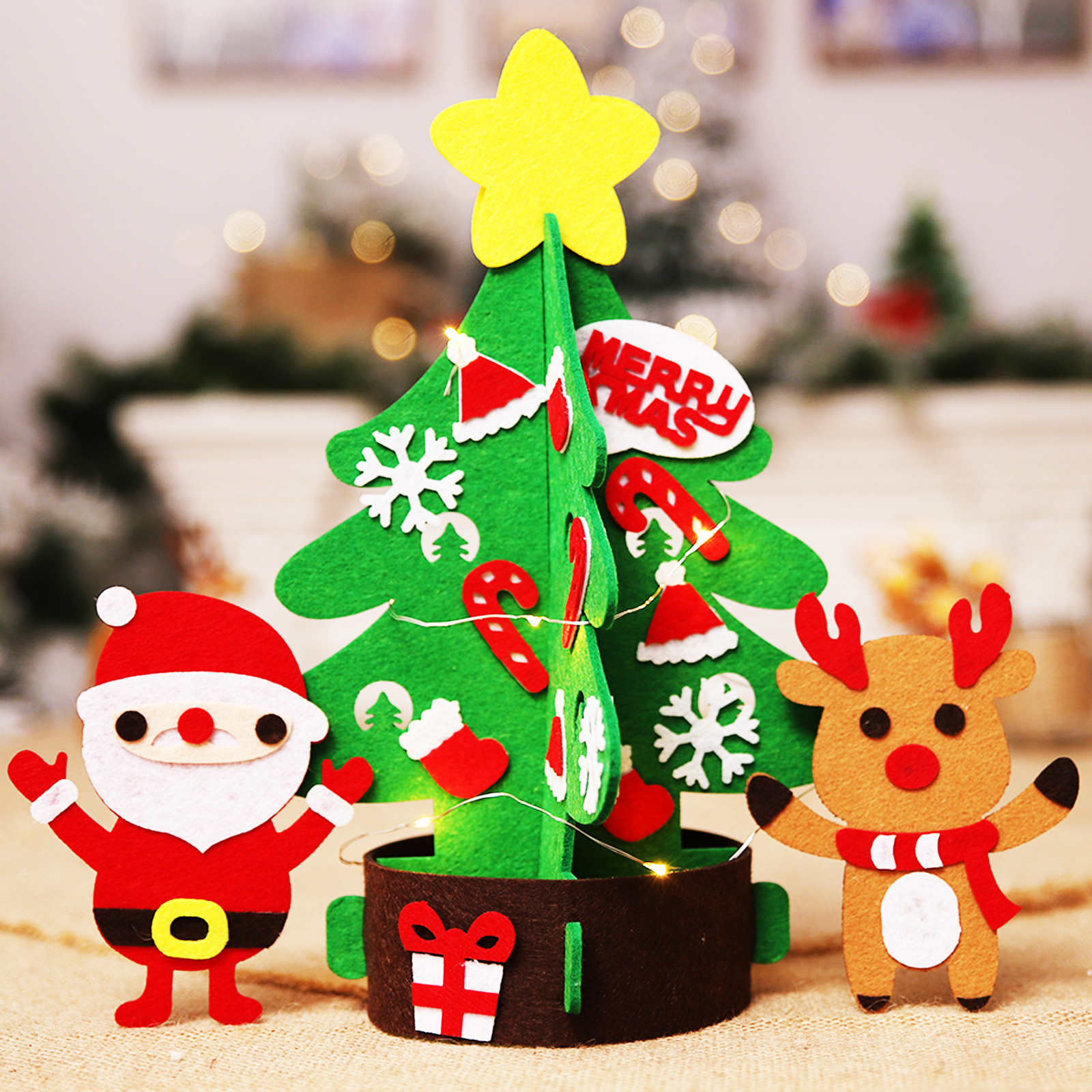 New 47x47cm DIY Christmas Tree with Cute Ornaments Non ...