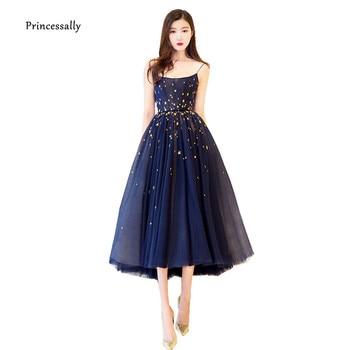 Simple Evening Dress Navy Blue Spaghetti Straps Gold Stars Pattern Elegant feestjurk Navy Evening Gown Vestidos Elegantes Fiesta cocktail dress