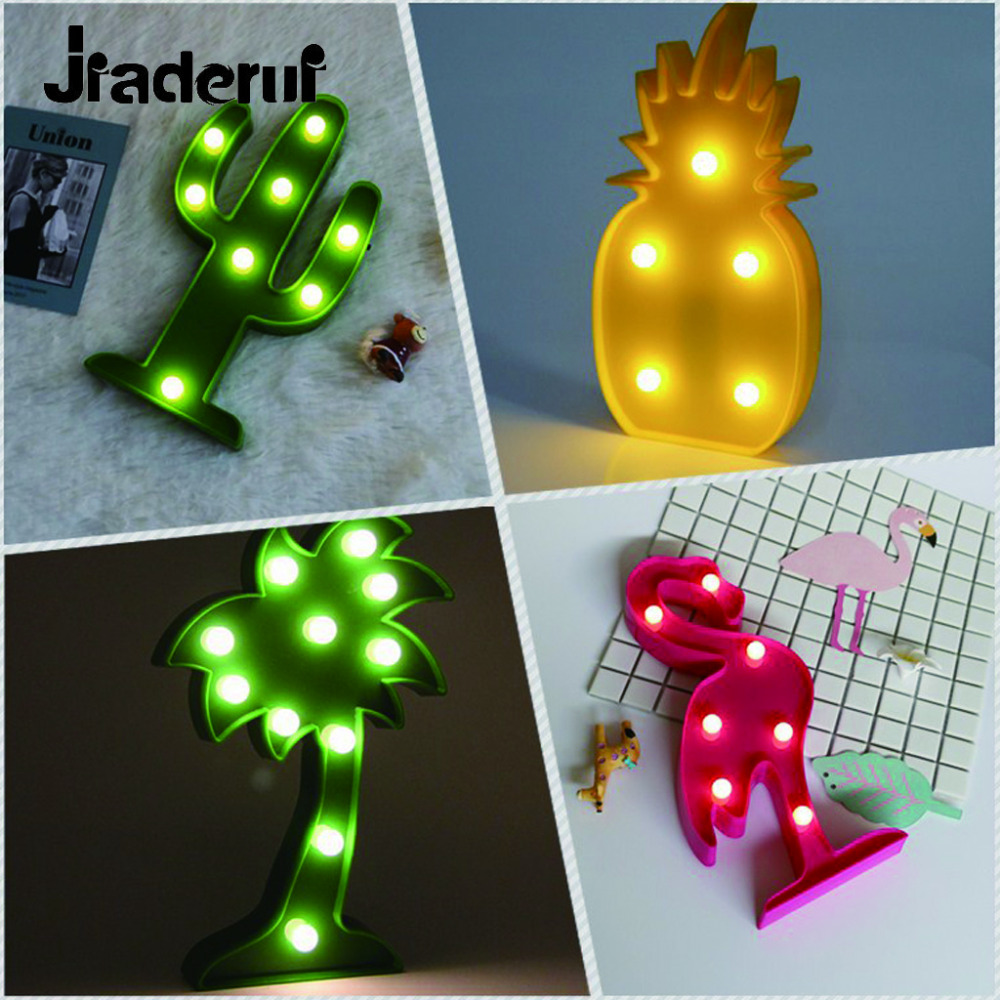 Jiaderui LED Flamingo Pineapple Cactus 3D Night Lights LED Night Lamp For Childrens Bedroom Decoration Kids Gift Toy Light