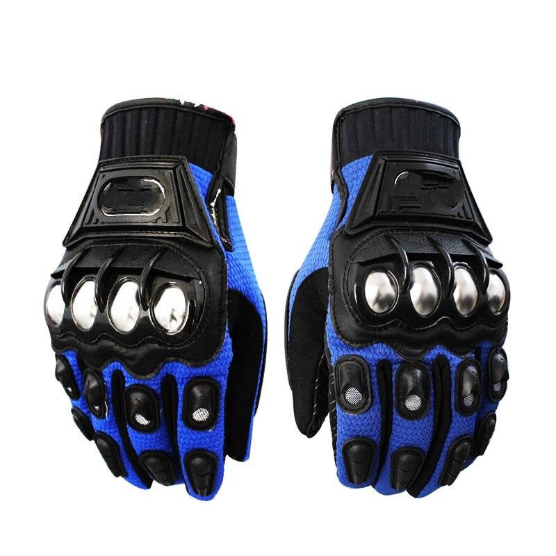 Stainless steel drop resistance biker gloves full finger pro biker mcs 01a motorcycle racing full finger protective gloves blue black size m pair