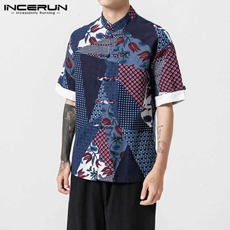 INCERUN 男性シャツコットンプリント半袖スタンドカラーボタンレトロな中国風ブランドシャツ男性 2019 シックな高品質トップス
