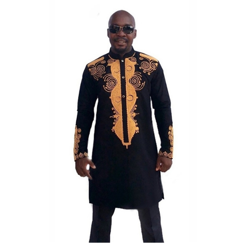 2019 Print Rich Bazin Fashion Man African Clothes Long Sleeve Shirt for African Dresses Dashiki New Men Maxi Africa Outfits