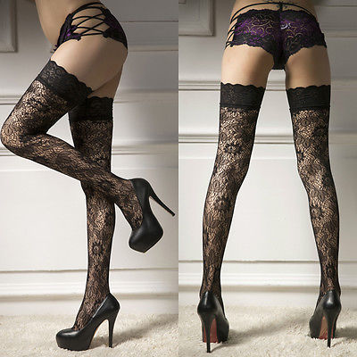 ddec27c3767 2017 Sexy Erotic lingerie Leaf Lady Women Sheer Lace Garter Stay Up Thigh  High Hold ups Stockings Pantyhose -in Hosiery from Novelty   Special Use on  ...