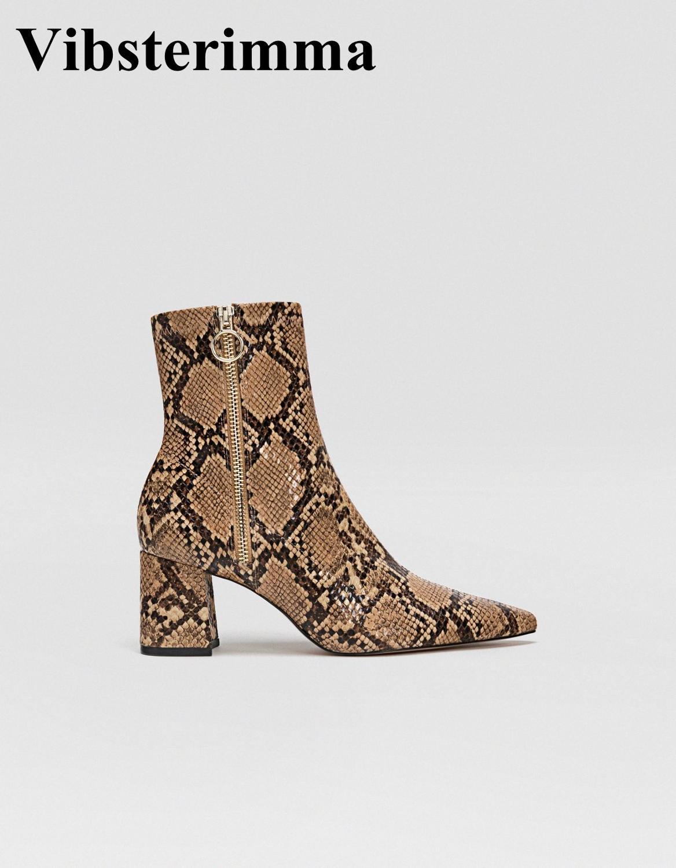Vibsterimma nouveau 2019 bottines en peau de serpent femmes bottes en cuir véritable femmes fermeture éclair bout pointu chaussons