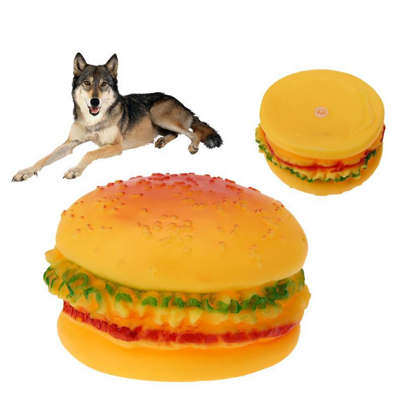 Собака игрушки смешно Hamburger форме звучать писк, игрушка для маленьких большой собаки кошки Еда Класс Силиконовые Обучение игре жевательная ...