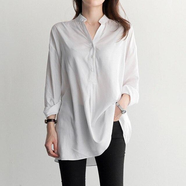 97b34fc8e69 Белая рубашка женская блузка с длинным рукавом Свободные Длинные женские  блузки повседневные женские топы сорочка femme