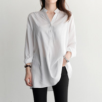 White Shirt Women Blouses Long Sleeve Shirts Loose Long Women Blouse Casual Ladies Tops Chemise Femme