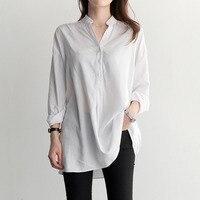 White Shirt Women Blouses Long Sleeve Shirts Loose Long Women Blouse Casual Ladies Tops Chemise Femme