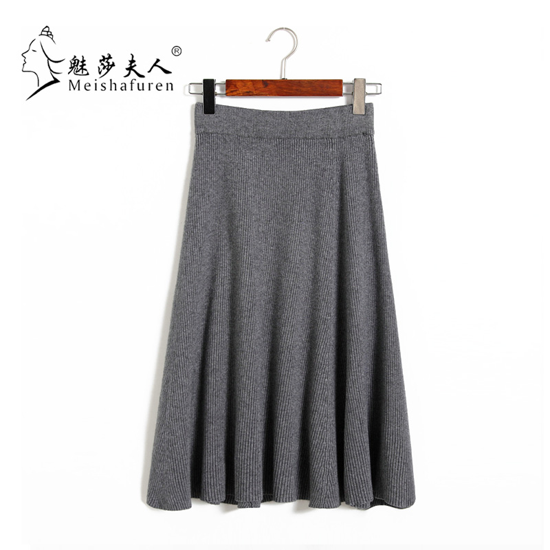 Donna New Autumn and winter 2018 Solid color Classy knitting Rabbits hair High Waist Skirt Fashion Loose length Skirt B20C