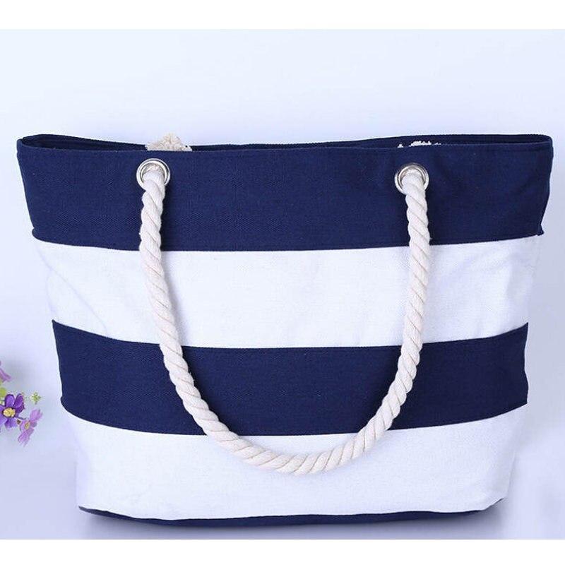 Mutifunctional Handbag Casual Canvas Striped Shoulder Bag Large Nylon Shopping Bag Priting Lunch Bag Beach Bag Feminina Bolsas