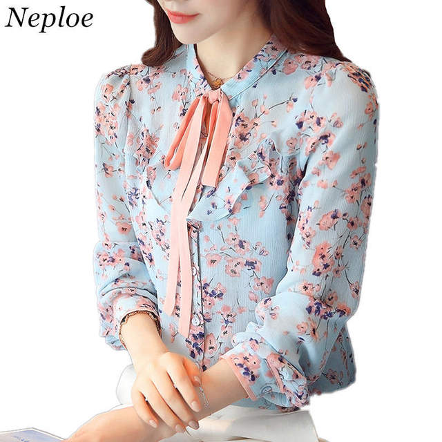 3e5074082cf7 Neploe Chiffon Shirt Floral Blouse 2019 Spring Long Sleeve Stand Collar Tops  Bow Tie Design Shirts Woman Elegant Blusas 34974