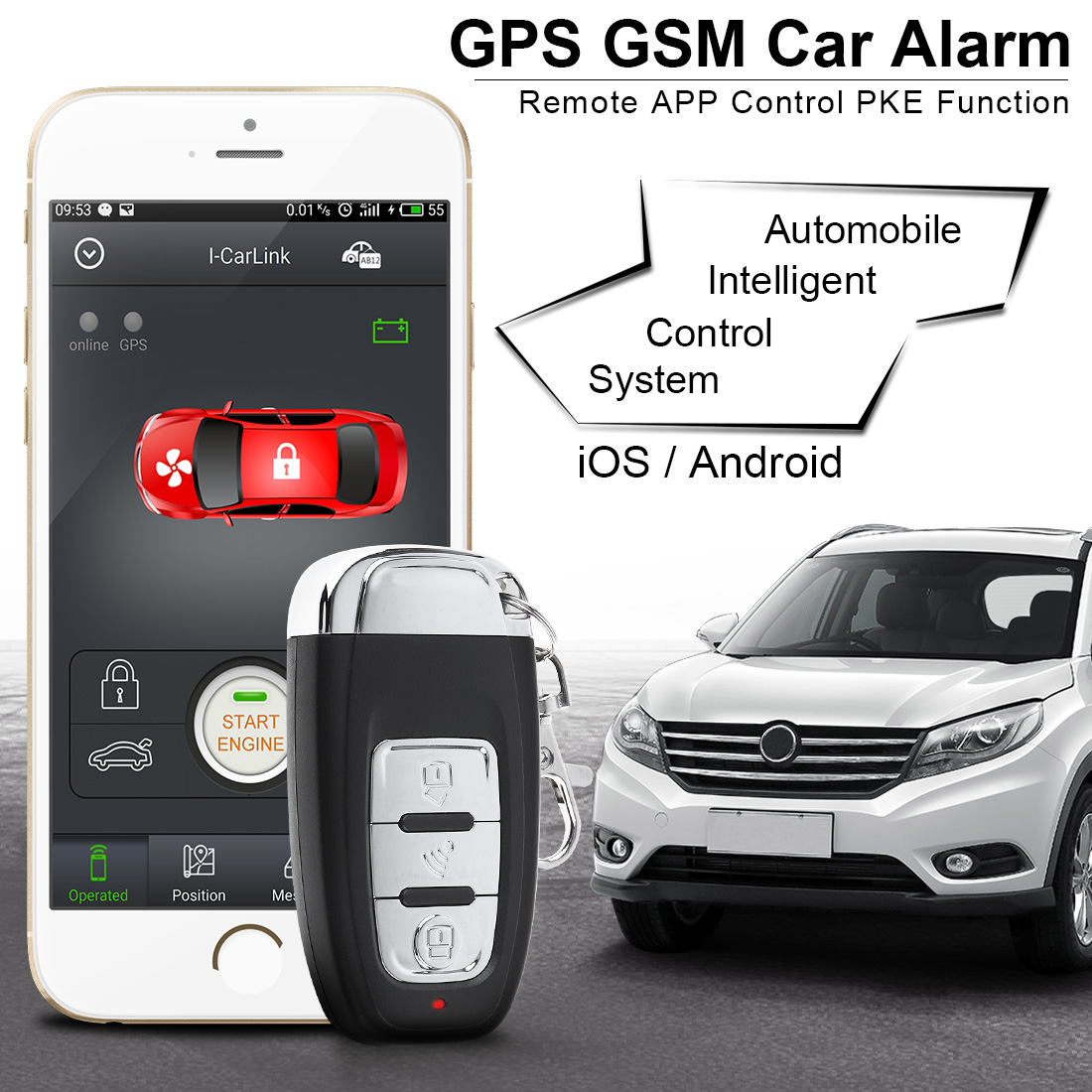 PKE Smartphone Start Car Smart Alarm Remote Start Stop Engine Initiating System Keyless Entry Auto Central Lock Vibration Alarm easyguard car security alarm system with pke passive keyless entry remote lock remote engine start stop keyless go system dc12v