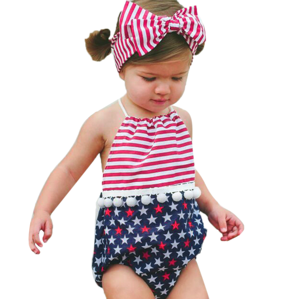2pcs Kids Baby Girl Floral Rompers Set Backless Romper+ National Flag Printed Headband Sunsuit Outfits Baby Clothes Set
