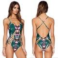Nuevas Llegadas Verano de Las Mujeres Atractivas traje de Baño Verde Imprimir Tribal Traje de Baño Monokini Bikini Push Up Acolchado