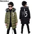 Новое зимнее пальто для больших мальчиков длинная стильная зимняя куртка для мальчиков с меховым капюшоном и хлопковой подкладкой  детская...