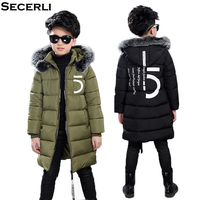 New Big Boys Winter Coat Long Style Boy Winter Jacket With Fur Hood Cotton Padded Children Kids Winter Jacket OutWear 3 to 15 Y|Down & Parkas| |  -