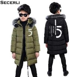 Nowy duzi chłopcy płaszcz zimowy w dłuższym stylu chłopiec kurtka zimowa z futrzany kaptur bawełny wyściełane dzieci dzieci kurtka zimowa znosić 3 do 15 Y Kurtki puchowe i parki Matka i dzieci -