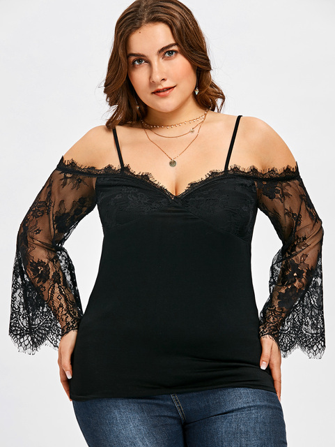b76d4788bce Wipalo Summer 2018 Solid Sexy Lace Off Shoulder Shirt Casual Top Plus Size  5XL Sheer Bell