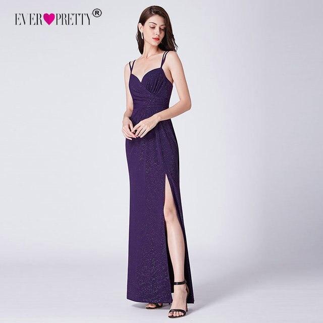 Purple Evening Dresses Long Ever Pretty Ep07429 Sexy Sleeveless Mermaid Leg Slit 2018 Cheap Formal Party
