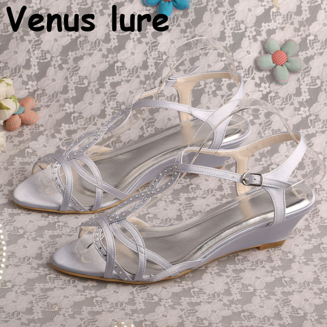 65dee0a9eb5a12 Mother of the Bride Sandals Silver Satin Ladies Low Heel Wedge Wedding  Shoes for Party
