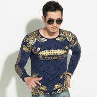 2018 New male autumn slim print t shirt 100% cotton o neck long sleeve t shirt the trend men's clothing fashion shirt