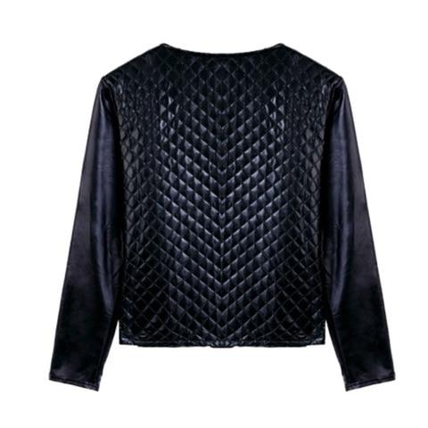 Press Cotton Leather Jackets Women Long Sleeve Autumn Winter Coat 2018 Black White Patchwork Slim Short Jackets with Zippers X3 Karachi