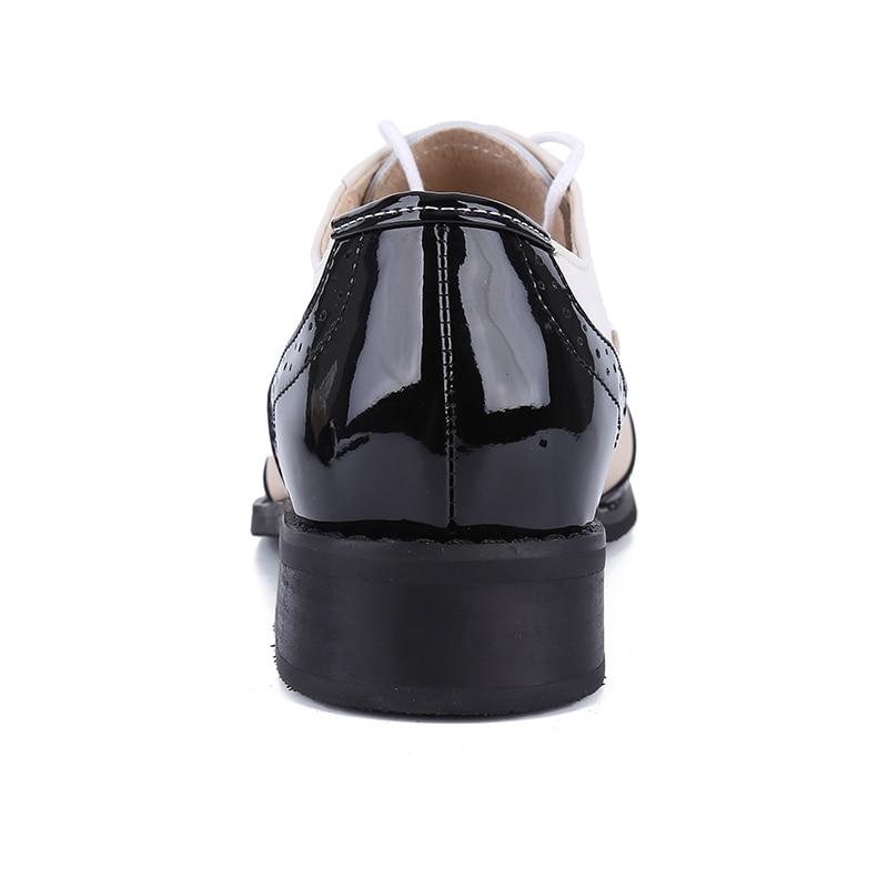 Vintage Femelle Oxford Pour White Main La Femme And Véritable Beige Blanc White Femmes 1 Plat Cuir En Taille Chaussures Noir Plus Black Zapatillas black qfwCp5