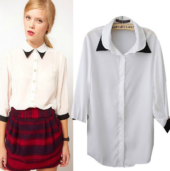2019 European fashion double collar shirt half sleeve chiffon shirt blouse top