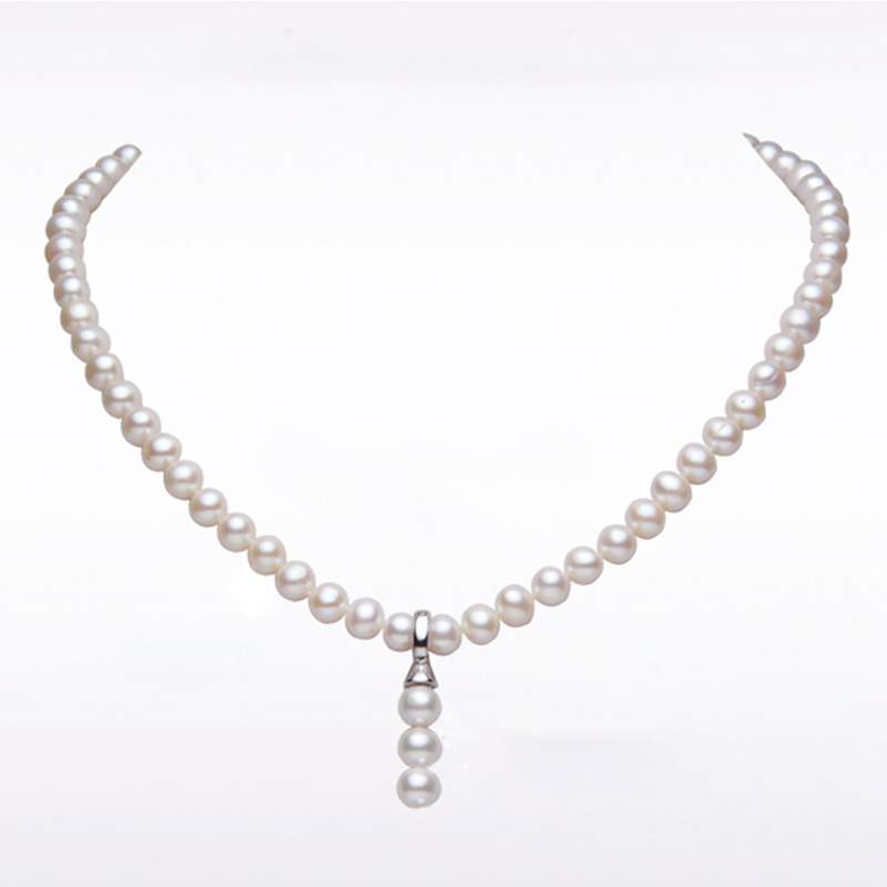 RUNZHUQIYUAN 2017 100% natural freshwater pearl choker necklace 7-8mm real pearl 925 sterling silver Choker Necklace For Women faux pearl detail glitter choker