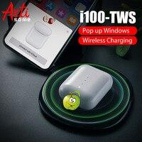 I100 TWS всплывающие Bluetooth 5,0 наушники для IPhone телефон с беспроводной зарядкой настоящая батарея PK i20 i30 i60 TWS i80 i90 i100 TWS