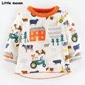 Little maven das crianças marca de roupas primavera moda primavera meninos meninas de algodão de manga longa de natal da cidade impressão camiseta bolso