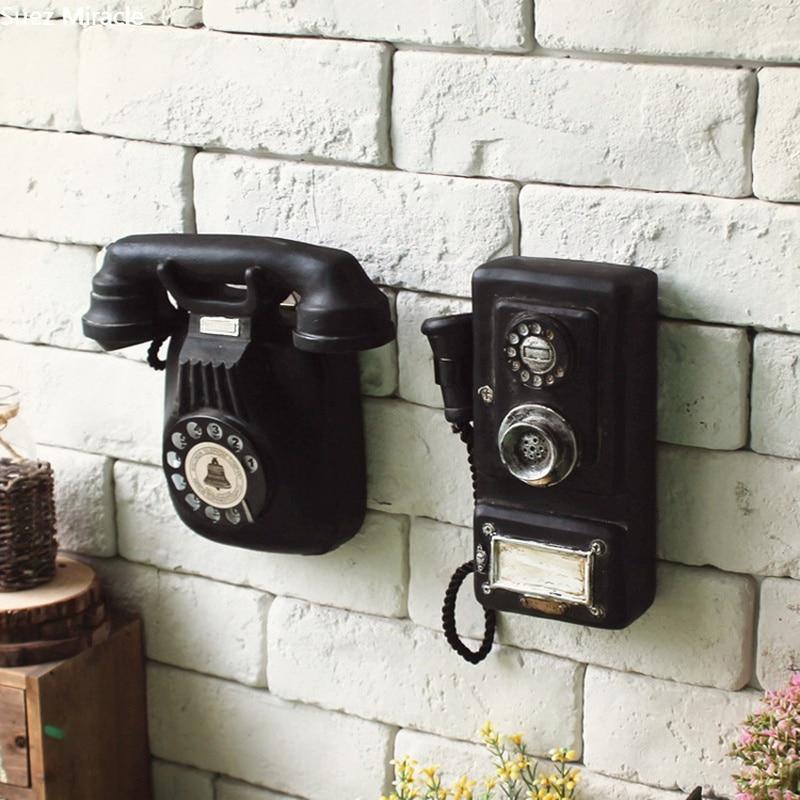 Loft American Vintage Wall Hanging Telephone Model, Living Room Decoration, Creative Coffee Bar Decorations  Home Decor